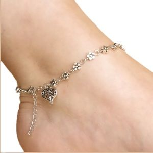 BOHO ANKLET w/ FLOWERS and HEART